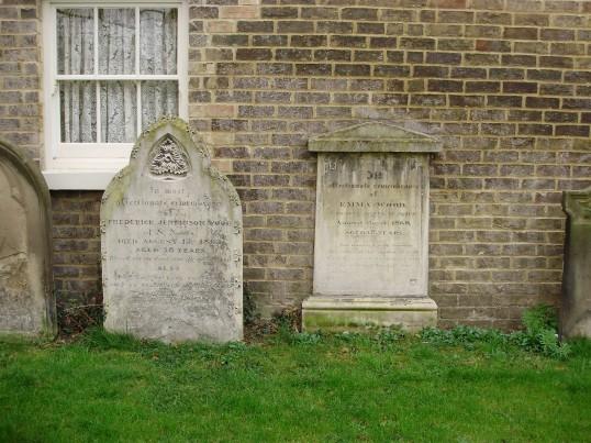 St Neots Baptist gravestones in the churchyard in New Street, now a  memorial garden in March 2009 (P.Ibbett)