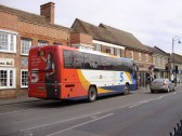 X5 coach in St Neots Market Square on its way to Cambridge from Oxford in March 2009 (P.Ibbett)