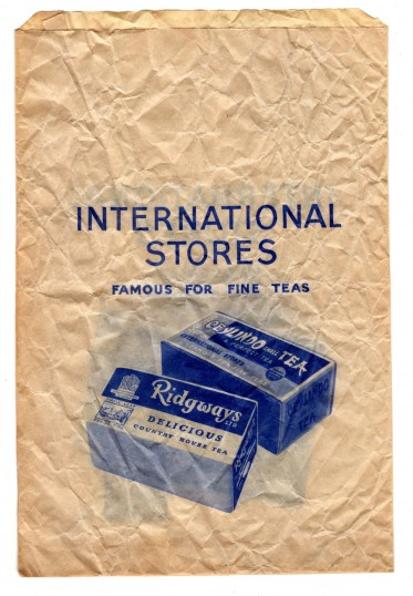 International Stores - a 1970s paper bag from the shop in St Neots High Street