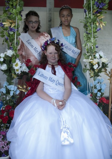Eatons May Court crowned at the annual May Day Celebrations in May 2011. May Queen - Lauren Whittaker and princesses Lucy Marshall and Alisha Kandekore.