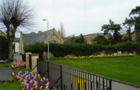 View from St Neots War Memorial towards the Welfare Hall, a former school in Church Walk in April 2011