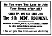 Advert in St Neots Advertiser asking for men to recruit, January 1916