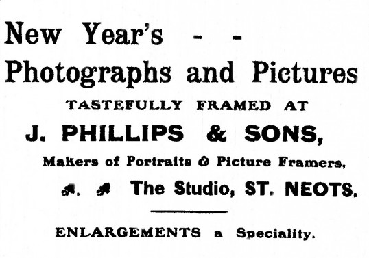 Advert for Phillips Photographers in St Neots Advertiser, January 1916