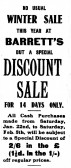 Advert for a sale at Barrett's in the St Neots Advertiser, January 1916
