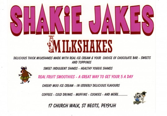 Shakie Jakes card, a new milkshake shop in Church Walk, St Neots, opened May 29th 2011