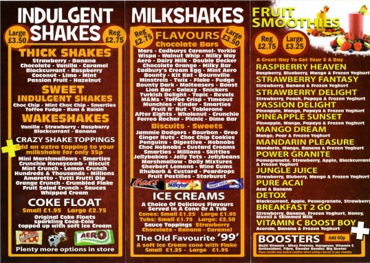 Shakie Jakes menu, a new shop in Church Walk, St Neots, opened May 29th 2011