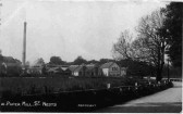 View of the Paper Mill at Little Paxton from St Neots Common in the early 1900's,