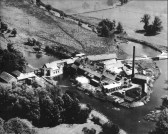 Aerial view of Little Paxton Paper Mill in 1951 - nearly all the buildings are on one island,