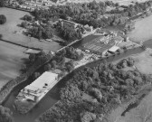 Aerial view of Little Paxton Paper Mill in 1967 - the buildings have extended across to a second island and a stream filled in