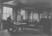 Inside the Little Paxton Paper Mill offices, the smart young men are salesmen, about 1920