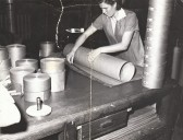 Women working in the 'Slitting Room' at the Little Paxton Paper Mill, where larger rolls of paper were split into smaller rolls, in the early 1950s