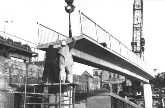The new concrete 'Traps' bridge being built across the River Great Ouse at Little Paxton, around 1972