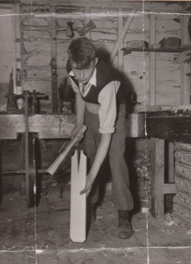 Godfrey Darrington, apprentice at the County Sports cricket bat factory run by the Trimmings family at Little Paxton in the early 1950s