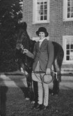 Peggy Hodge outside Paxton Hall, ready for the hunt, about 1930 !
