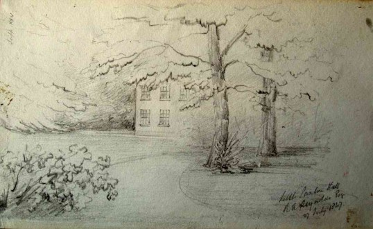 Sketch of Little Paxton Hall by Joseph Rix, dated 1847