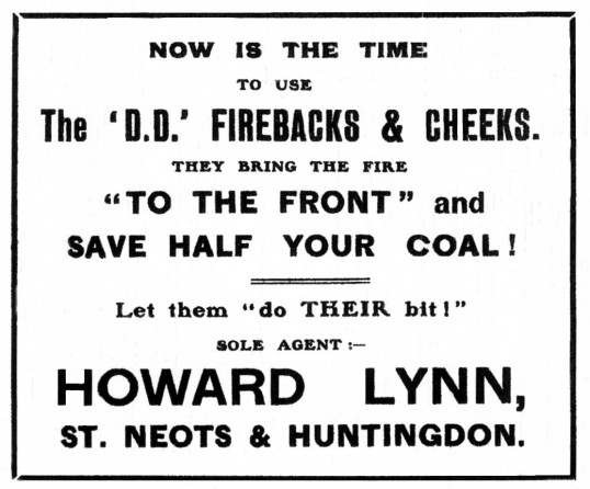 Howard Lynn shop - an advert in the St Neots Advertiser, dated March 1916
