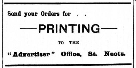 Advert for printing in the St Neots Advertiser, dated March 1916