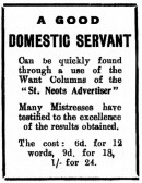 Advert for 'a good domestic servant' in St Neots Advertiser, March 1916