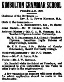 Advert for Kimbolton School in St Neots Advertiser in March 1916