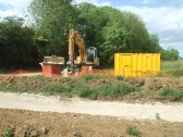 Digger at the new cycle/footbridge works in Eaton Socon in May 2011
