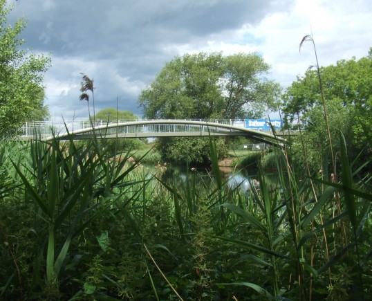 The centre span of the new cycle/footbridge in place across the River Great Ouse - 9th June 2011