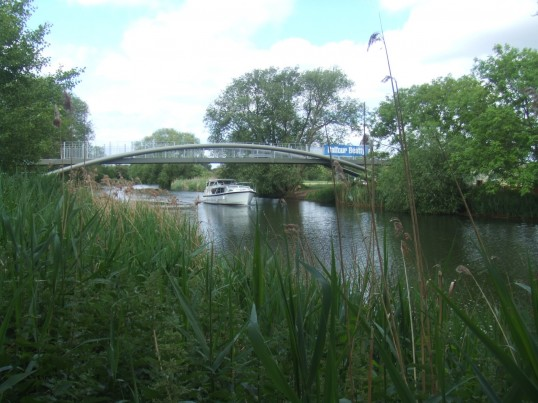 View of the new cycle/footbridge across the River Great Ouse in June 2011, before it was opened