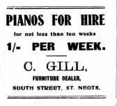 Advert from St Neots Advertiser April 14th 1916 advertising Pianos for Hire by C. Gill, only one shilling a week (5p)