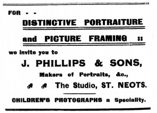 Advert for Phillips & Sons Photographer in St Neots Advertiser April 14th 1916