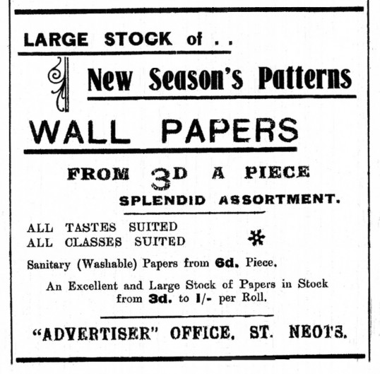 Advert for Wall Papers from 3d a sheet in St Neots Advertiser, February 1916
