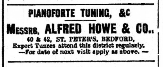 Howe Pianoforte tuning advert in St Neots Advertiser, May 1916