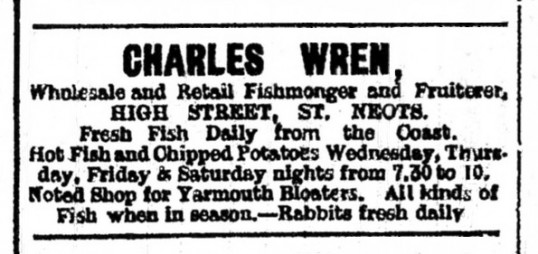 Advert in St Neots Advertiser for Wren fishmonger and fruiterer in St Neots High Street, May 1916