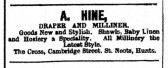Advert in St Neots Advertiser for A.Hine, Draper and Milliner in Cambridge Street, St Neots, St Neots Advertiser May 1916