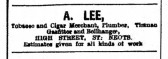 Advert in St Neots Advertiser for A.Lee, Tobacco and Cigar merchant in St Neots High Street, May 1916