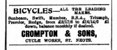 Advert in St Neots Advertiser for Crompton & Sons Cycle Works, St Neots in May 1916