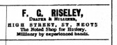 Advert in St Neots Advertiser for F.C. Riseley, Draper and Milliner in St Neots High Street, May 1916