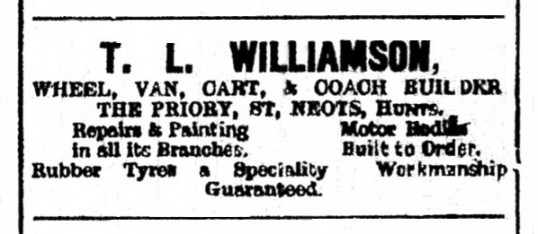 Advert in St Neots Advertiser for T.L. Williamson wheel, van, cart and coach builder at The Priory in St Neots, May 1916