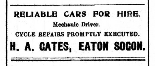 Advert in St Neots Advertiser for H.A. Gates - cars for hire in Eaton Socon, May 1916