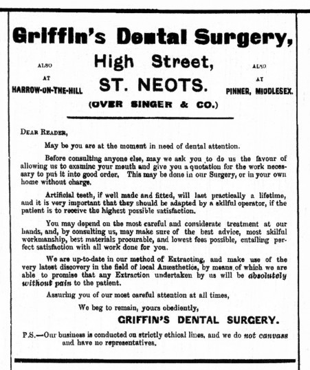 Griffin's Dental Surgery advertised in St Neots Advertiser, May 1916