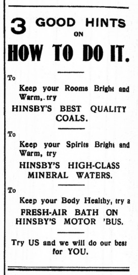 Advert for Hinsby's best Quality Coals in St Neots Advertiser, May 1916