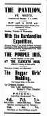 Advert for films on at The Pavilion in St Neots in the St Neots Advertiser in May 1916