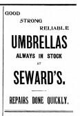 Seward's Umbrella advert in St Neots Advertiser 23rd June 1916