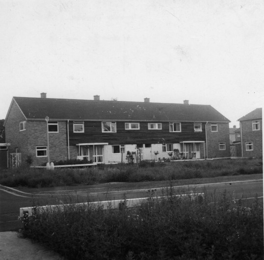 View of houses in Springbrook from 10 Springbrook in Eynesbury in 1962 when they were new