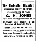 Advert for an Umbrella Hospital in Cambridge Street, St Neots, St Neots Advertiser August 4th 1916