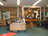 Entrance desk and doors in the St Neots Reference Library in November 2010, before being refitted