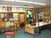 Entrance desk in the St Neots reference library in November 2010, before being refitted