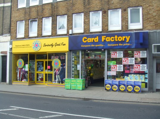 Party Mania and Card Factory in St Neots High Street in April 2011