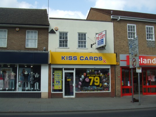 Kiss Cards shop next to Iceland in St Neots Market Square in April 2011