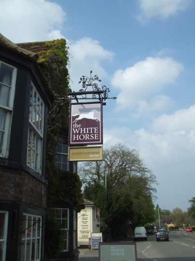 The new pub sign at the White Horse in Eaton Socon on the Great North Rd in April 2011