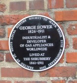 George Bower plaque on The Shrubbery wall in St Marys Street, St Neots placed there in 2006