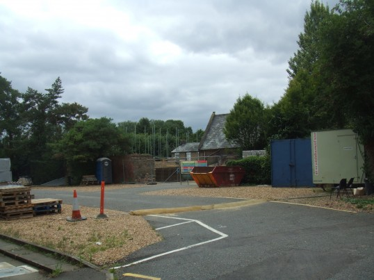 Houses being built behind the Welfare Rooms in Church Walk, St Neots, access from St Marys Street, in August 2011